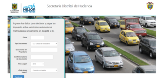 Impuesto vehicular Bogotá 2019