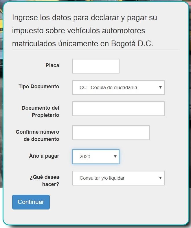 Impuesto vehicular Bogotá 2020