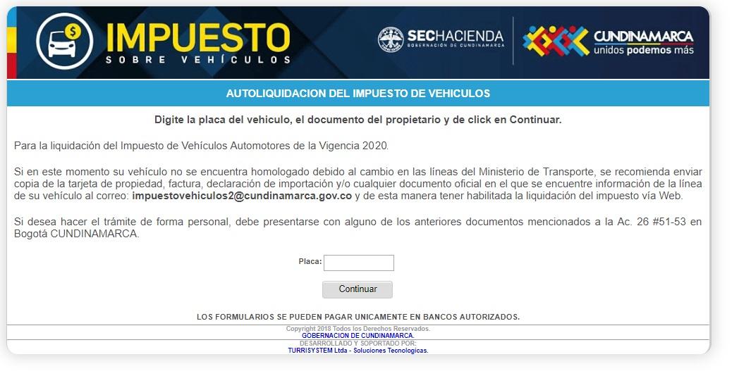 Impuesto vehicular en Cundinamarca