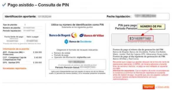 MiPlanilla pagos de seguridad social y consulta de PIN9
