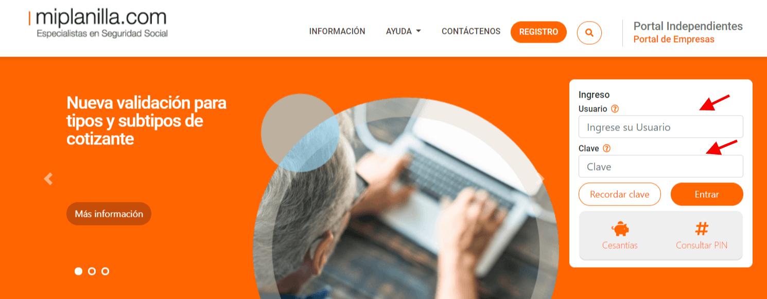 MiPlanilla pagos de seguridad social y consulta de PIN