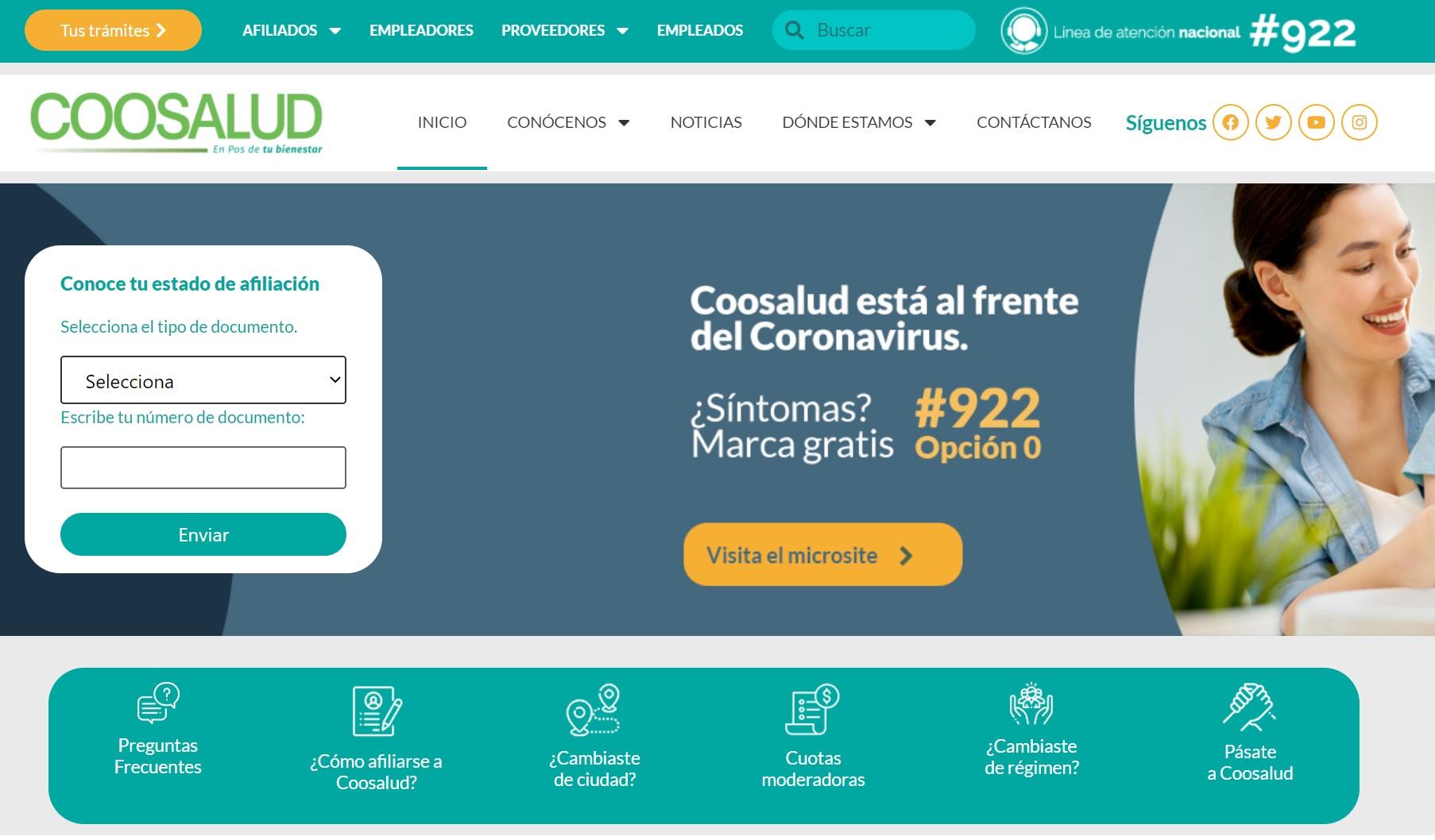 Coosalud: Servicios en línea y teléfonos 1