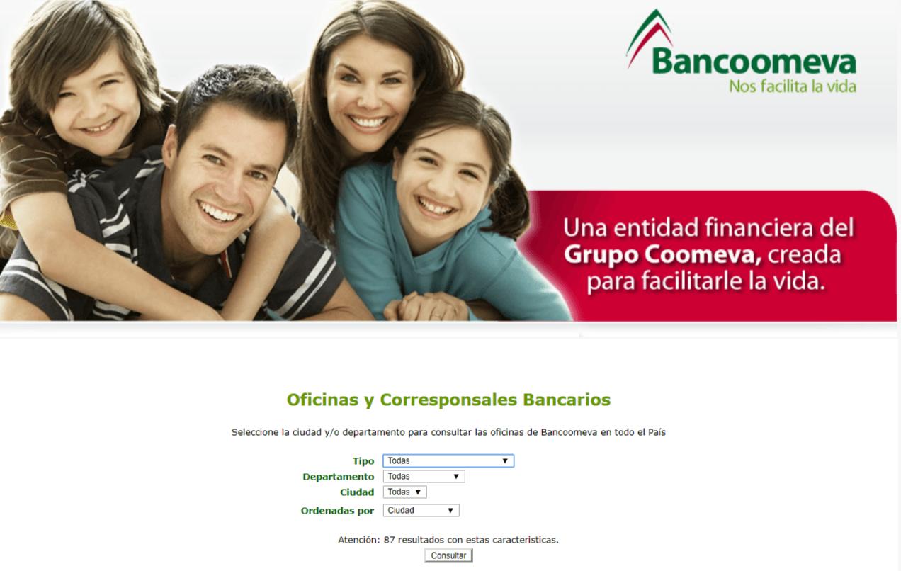 Buscador de oficinas de Bancoomeva