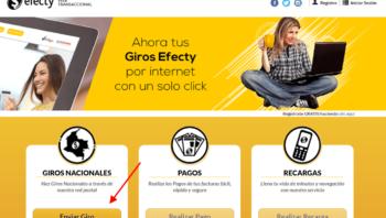 Hacer giros por internet con Efecty