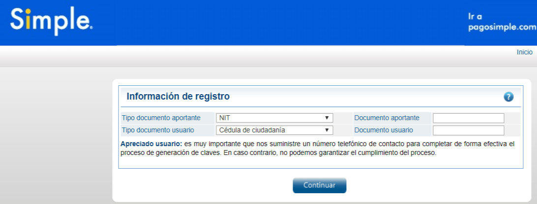 Registrarse en Pago Simple