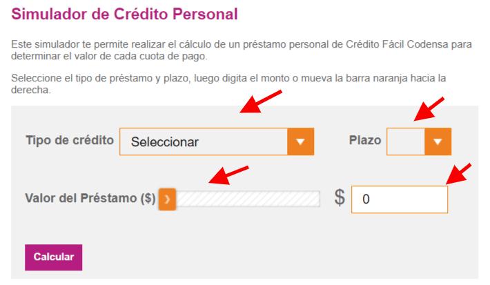 Simulador de préstamo personal Tarjeta Codensa