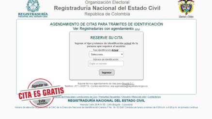 Plataforma para agendar cita en la Registraduría Nacional de Colombia
