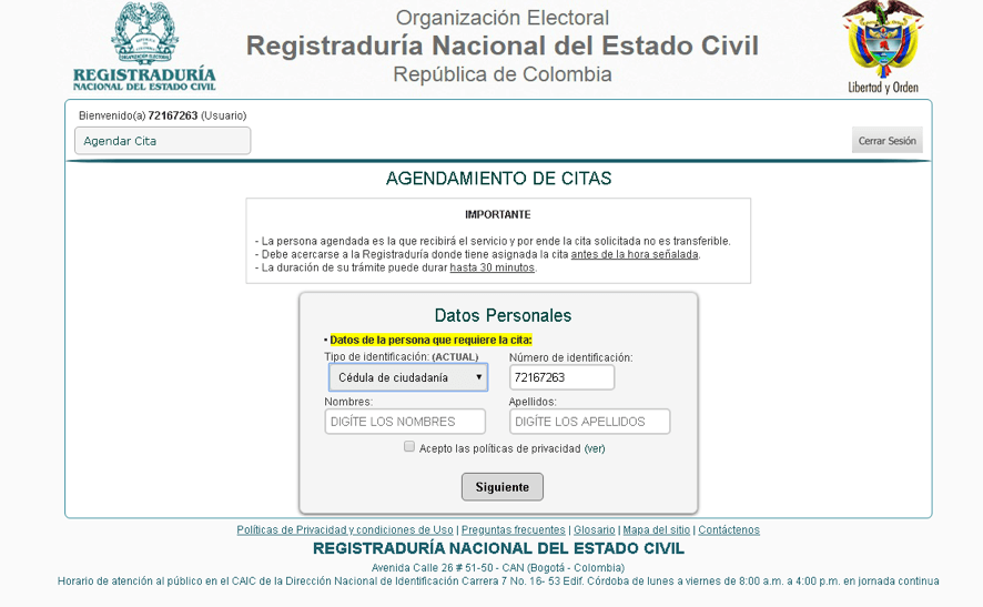 Cómo agendar citas en la Registraduría por Internet 1