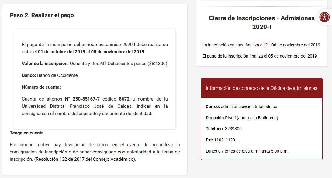 Calendario en el sitio web de la Universidad Distrital