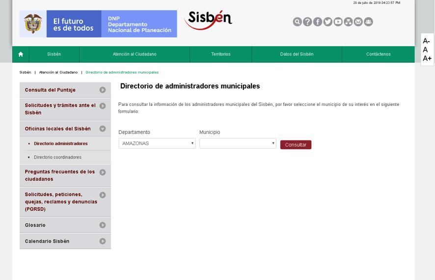 Buscar oficina por municipios para afiliarse al Sisbén