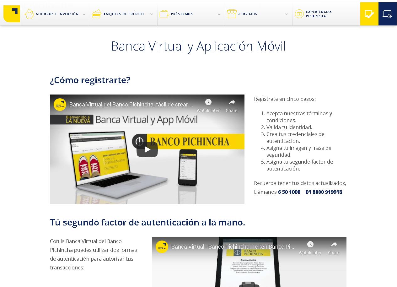 Banco Pichincha: Servicios en línea, tarifas y teléfonos 1