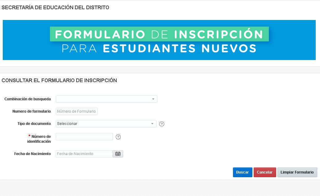Formulario para estudiantes nuevos en Secretaría de Educación de Bogotá