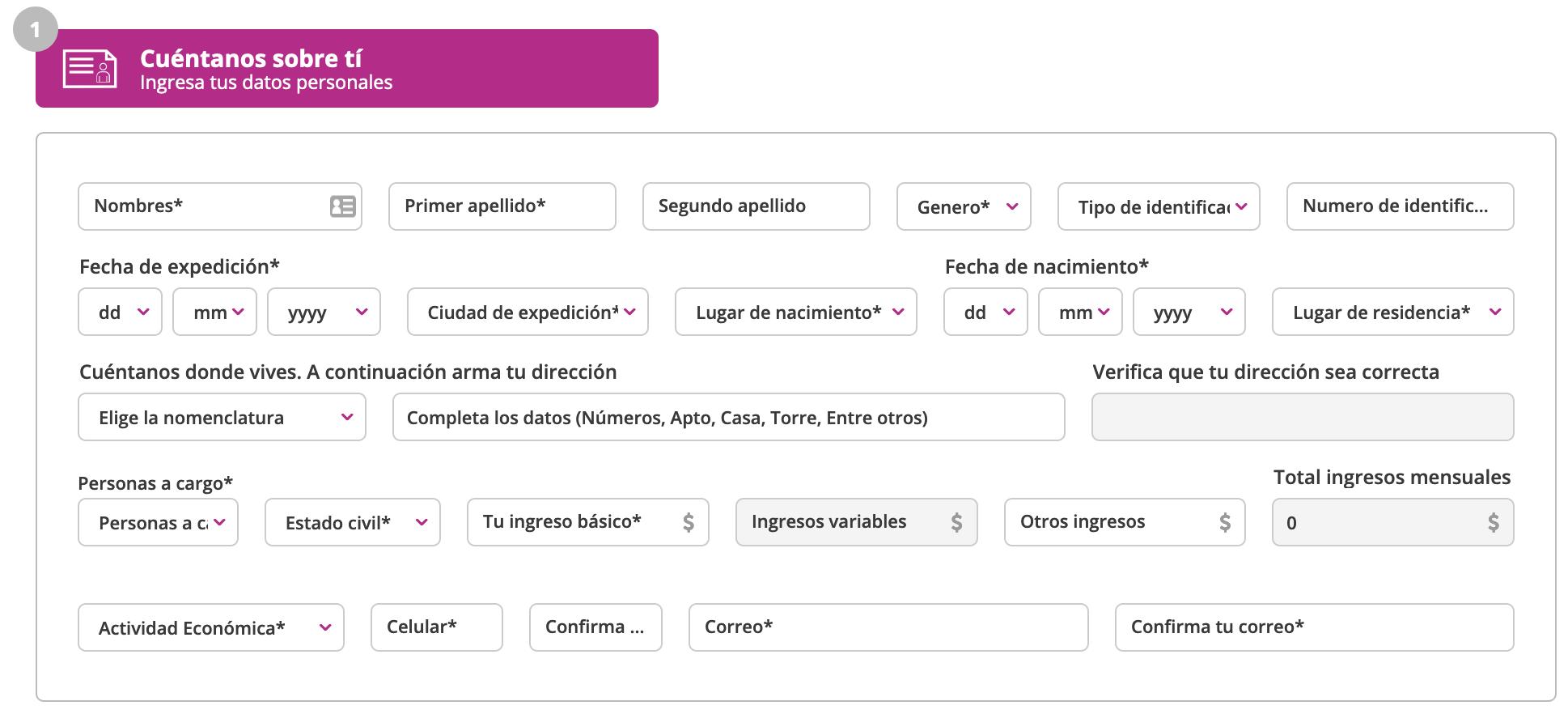 Formulario para solicitar créditos en Finandina