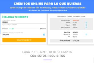 Formulario para solicitar crédito en Lineru