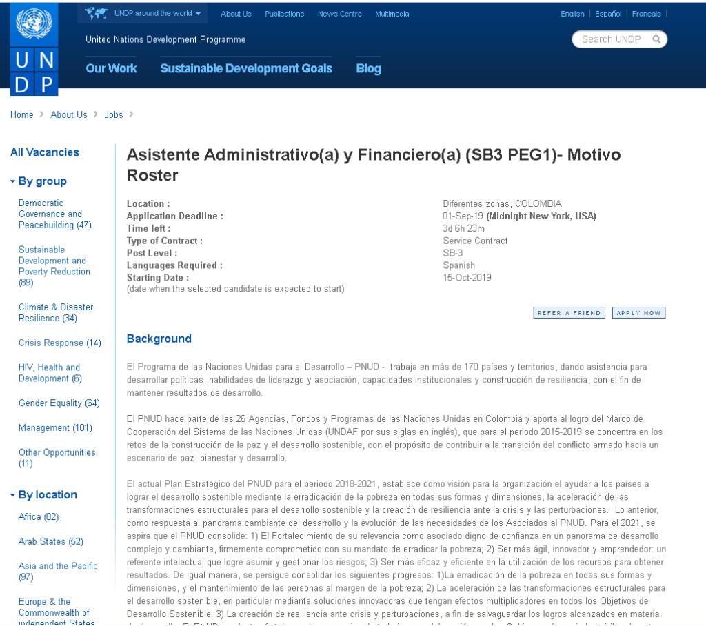 Vacantes en la PNUD: Consulta y postulación en línea 1