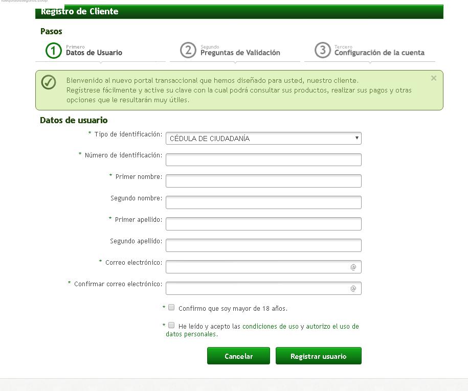 Registro de clientes en Equidad Seguros