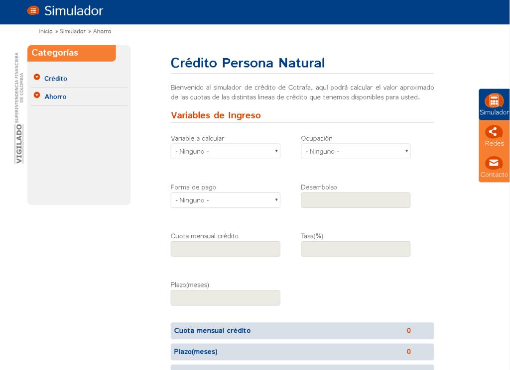 Simulador de crédito en Cotrafa