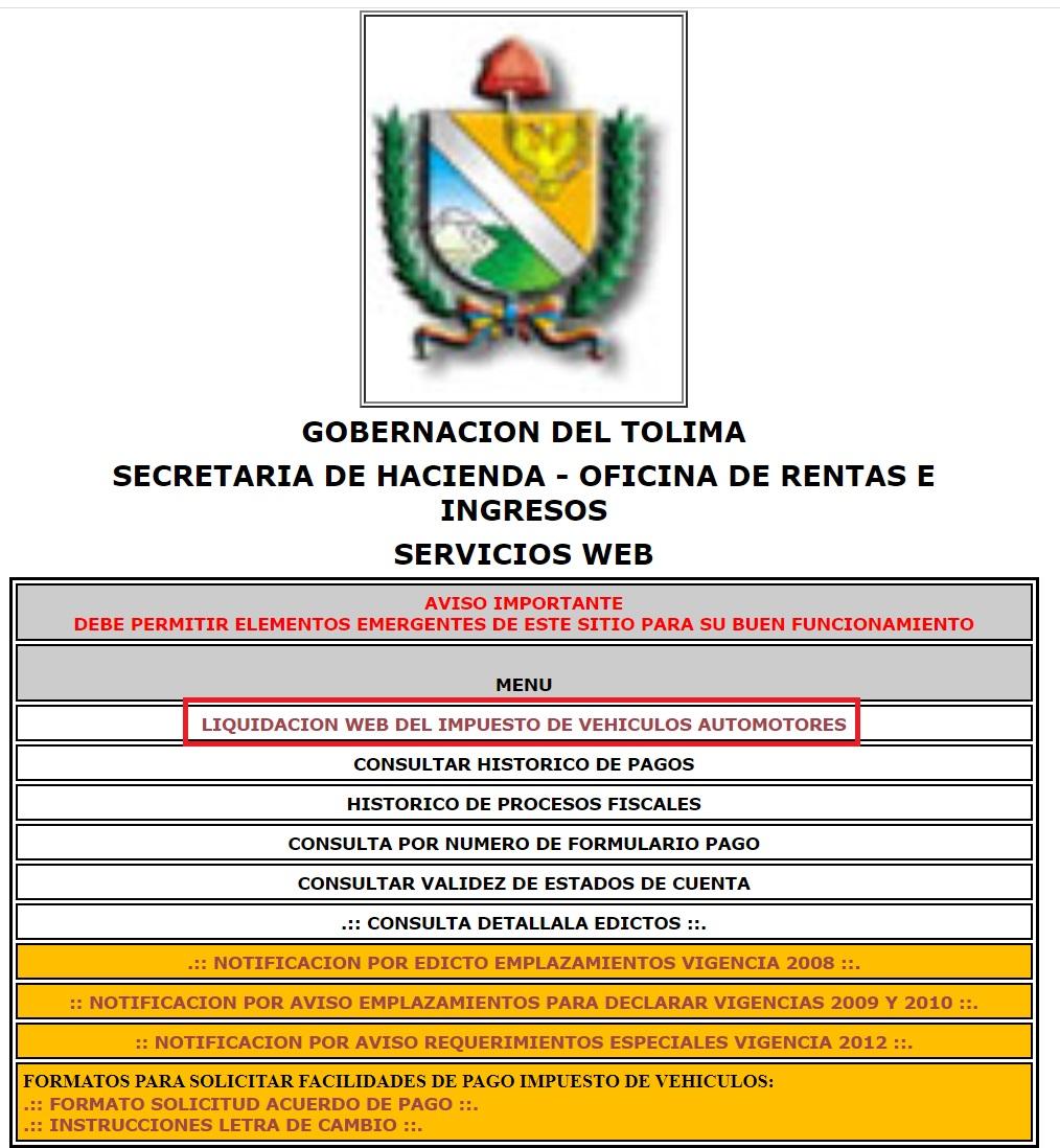 Resumen del sitio web para el pago del impuesto vehicular en Tolima