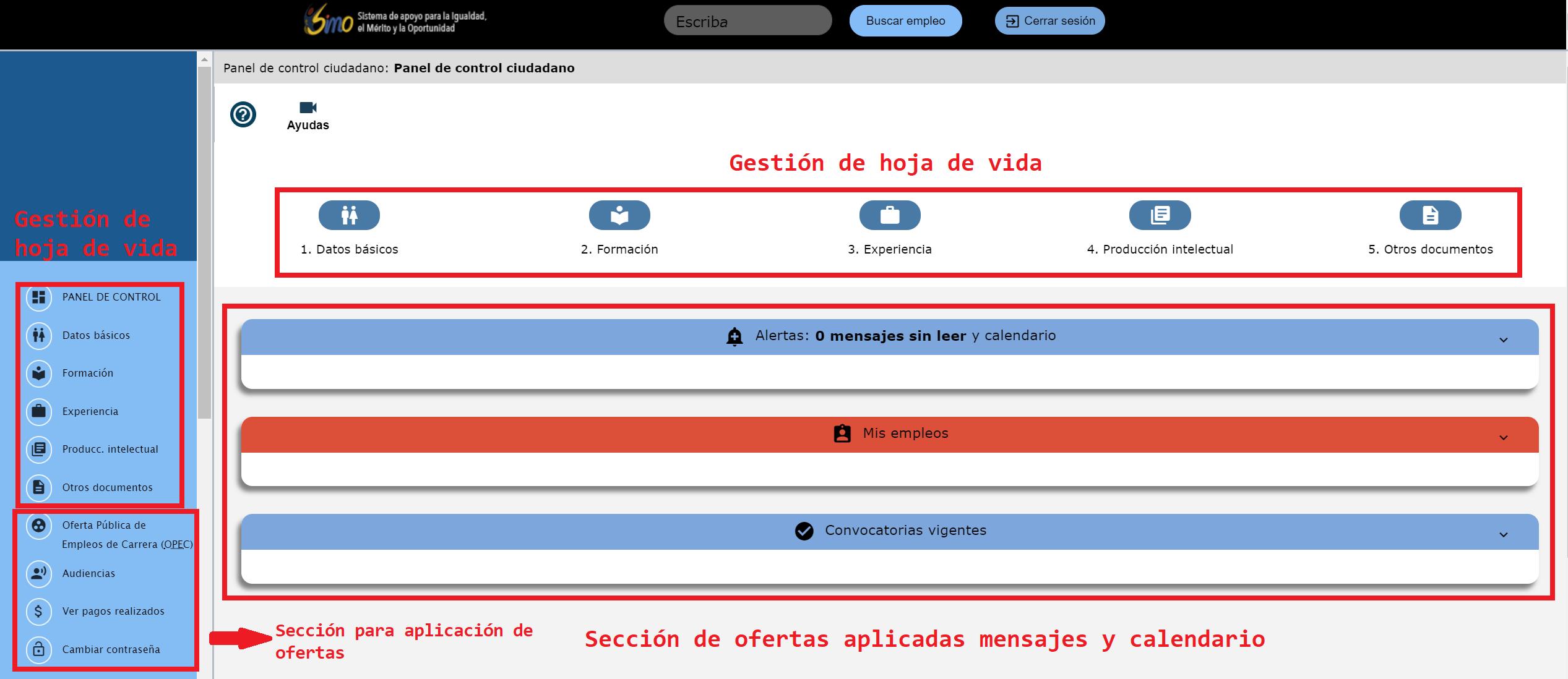 panel de usuario simo