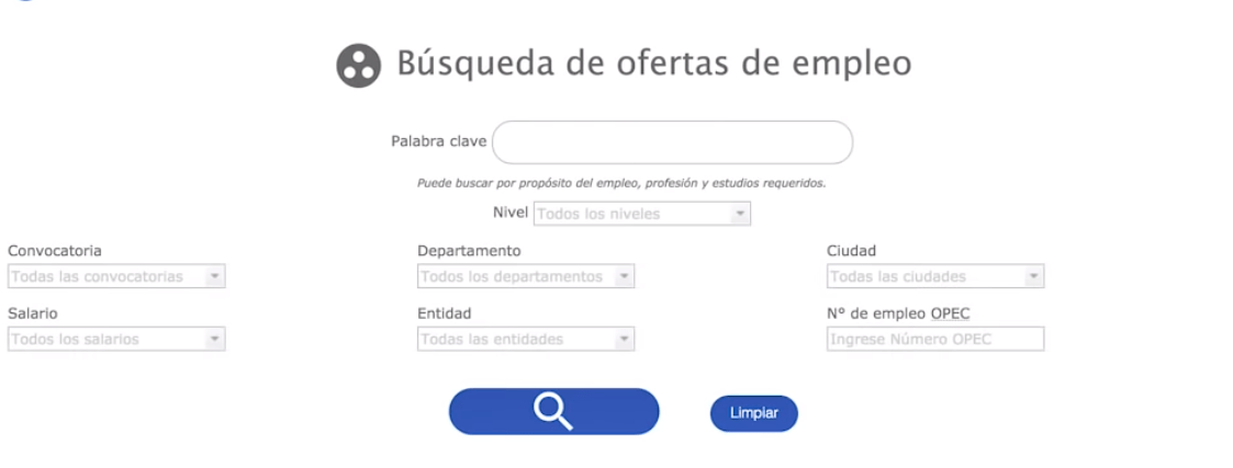filtro búsqueda de empleo simo