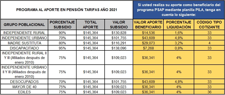 Programa de Subsidio al Aporte en Pensión (PSAP)